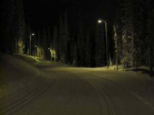 Lit cross-country ski trail at Sovereign Lake.
